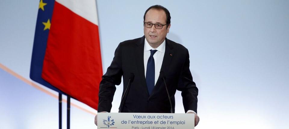 18.01.2016 François Hollande présentant le portage salarial dans son plan d'urgence pour l'emploi.